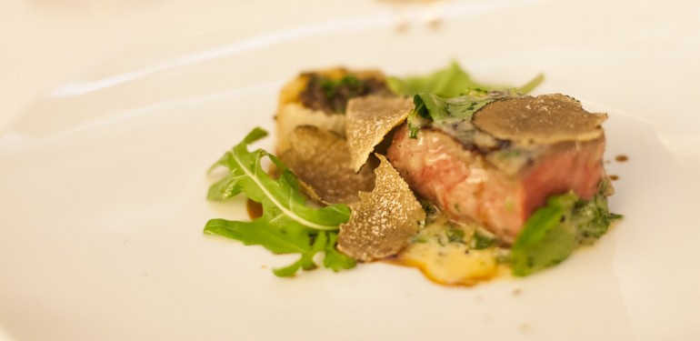 Grilled beef with black truffles.