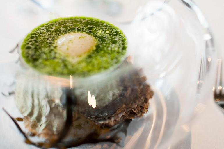 Oyster emulsion at Maaemo.