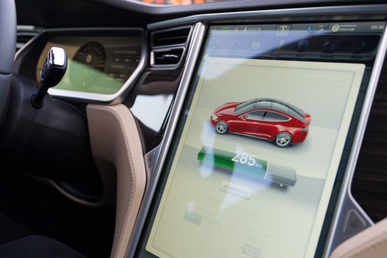 "The central 17"" touch panel in the Tesla Model S"