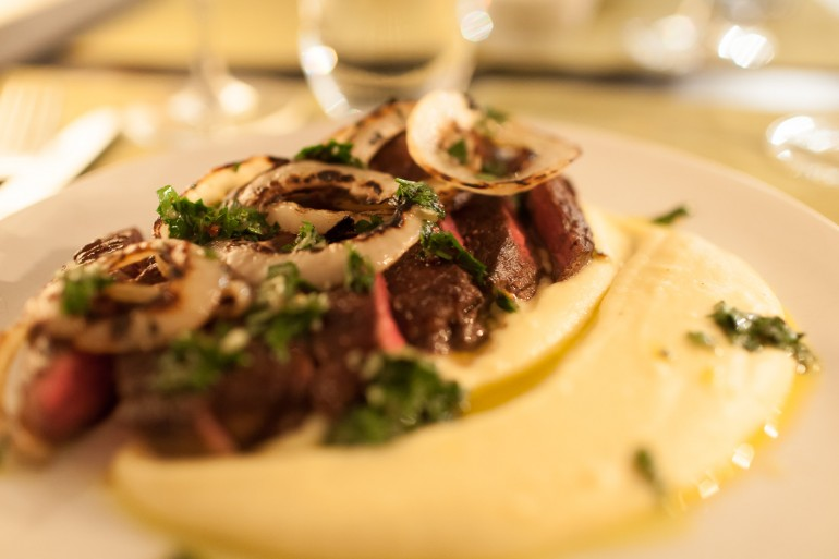 Beef, brown butter potatoes and chimichurri