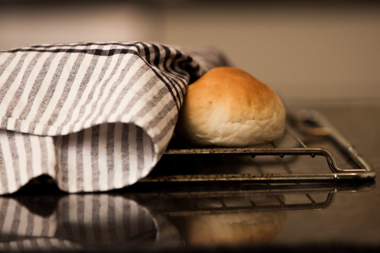 A wheat bun ready to be transformed into a semla.
