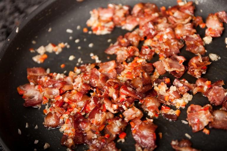 Bacon, onion, garlic and chili
