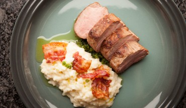 Pressure cooker risotto with sous-vide pork tenderloin