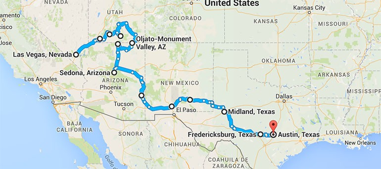 American Southwest road trip map