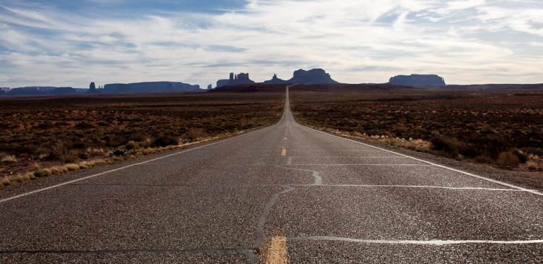 Road with Monument Valley in background