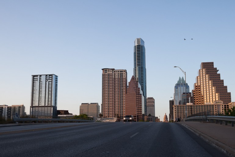 View over downtown Austin from the South Congress bridge