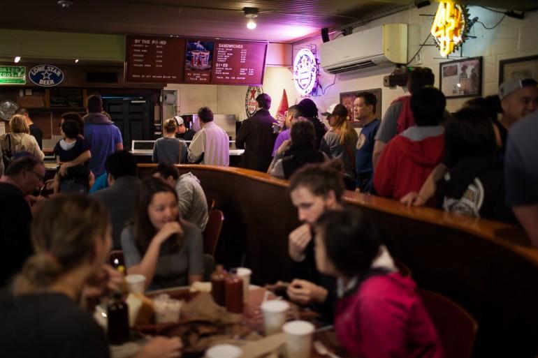 Franklin BBQ eating room