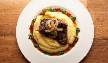 48 hour Chuck Eye Steak with Potato Puree and Chimichurri