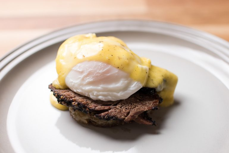 Smoked Chuck-eye and Hash Browns Eggs Benedict